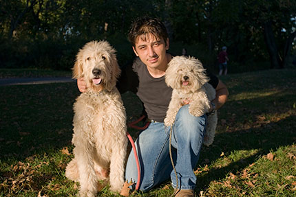 Man with 2 dogs